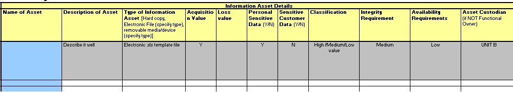 A example of Asset register for ISO 27001